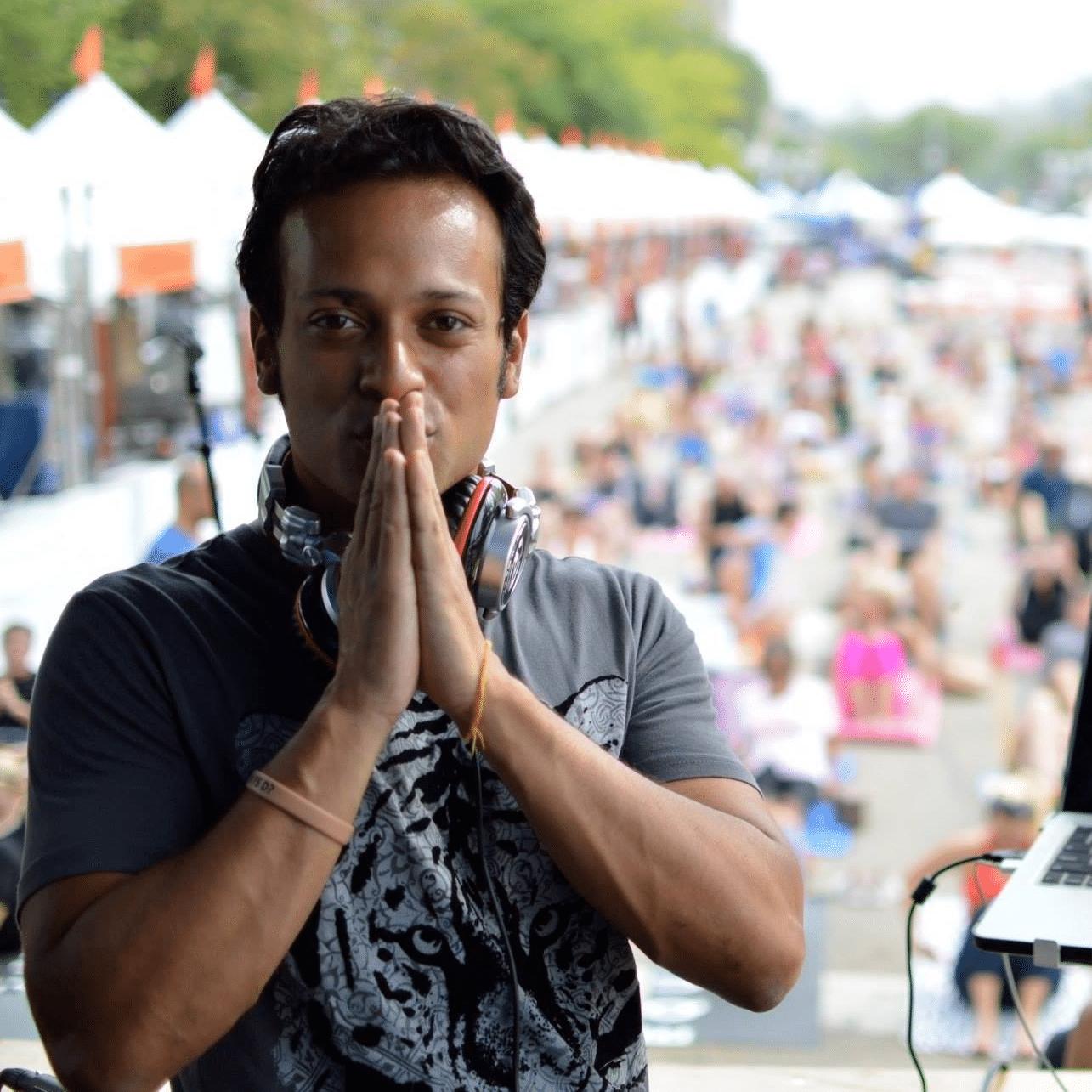 DJ Taz Rashid yoga class