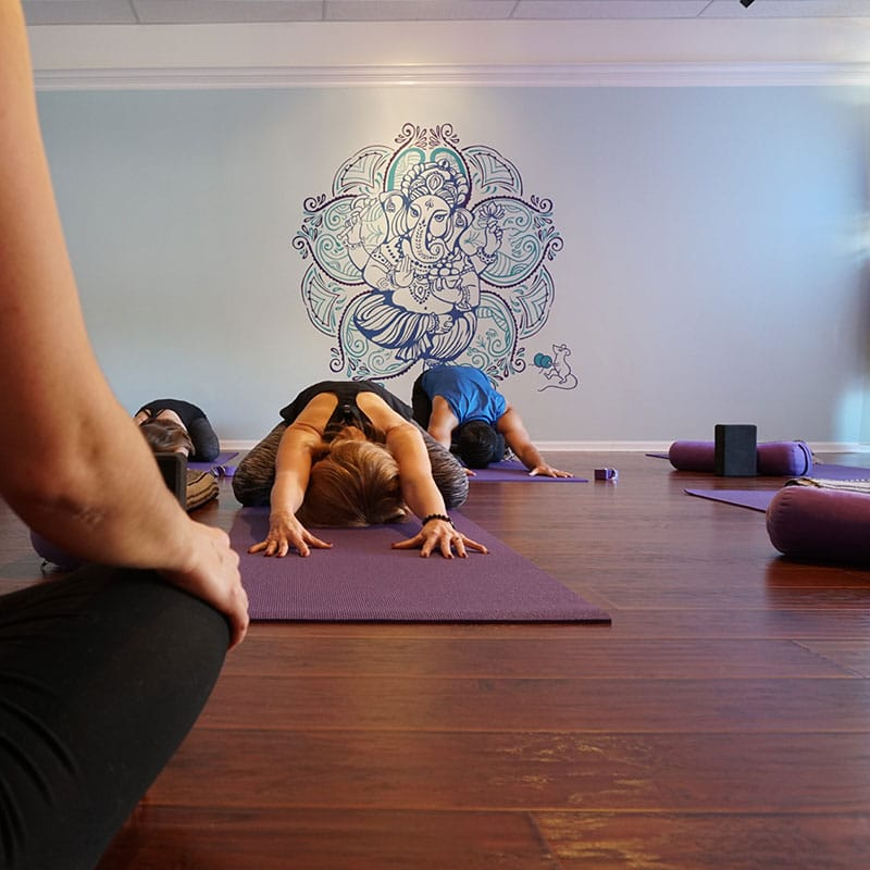 Photo of yoga students in a studio seated and folded over forward